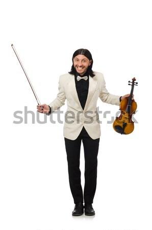 Férfi hegedű játszik fehér férfi fehér jókedv Stock fotó © Elnur