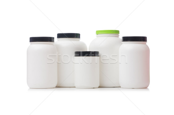 Jars with food additive protein isolated on white Stock photo © Elnur
