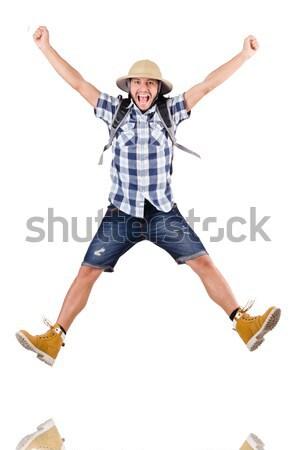 Stockfoto: Jonge · man · hoed · geïsoleerd · witte · achtergrond · zomer