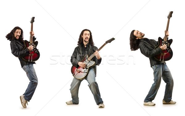 Divertente chitarrista isolato bianco musica party Foto d'archivio © Elnur