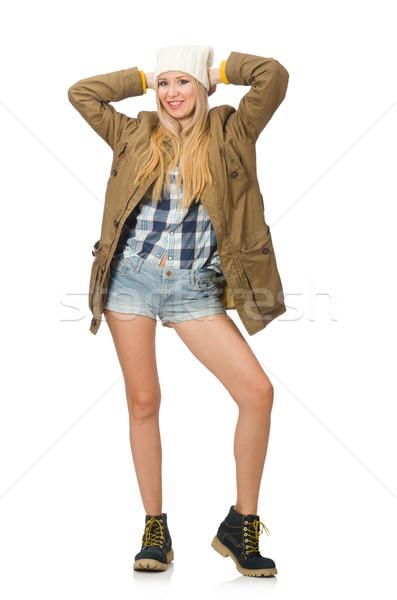 Jolie femme jeans short isolé blanche fille Photo stock © Elnur