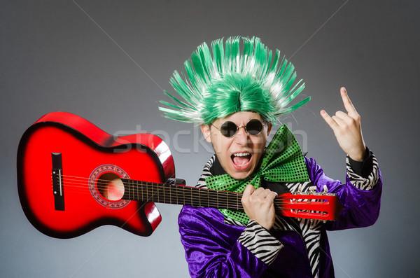 Stock fotó: Vicces · férfi · játszik · gitár · musical · zene