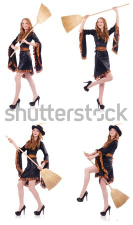 Woman pirate in various poses on white Stock photo © Elnur