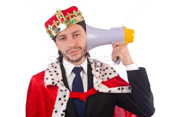 Rei empresário engraçado isolado branco trabalhar Foto stock © Elnur