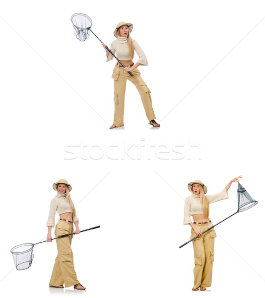 Woman with catching net on white Stock photo © Elnur