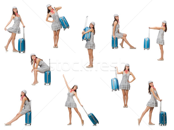 Donna valigia isolato bianco business Foto d'archivio © Elnur