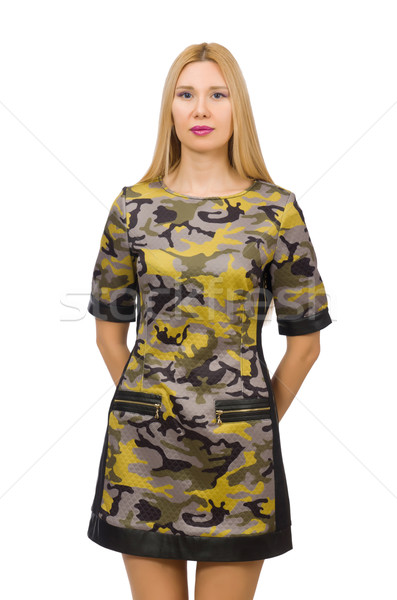 Stockfoto: Kaukasisch · meisje · militaire · stijl · jurk · geïsoleerd
