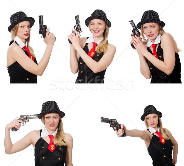 Gangster женщину пистолет белый девушки безопасности Сток-фото © Elnur