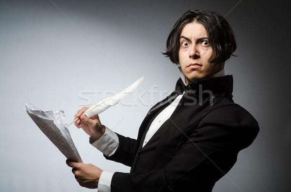 Drôle écrivain vintage papier main homme Photo stock © Elnur