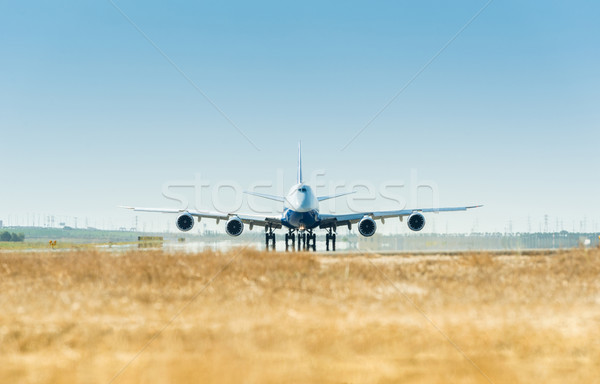 Large airplane on the runway ready for takeoff Stock photo © Elnur