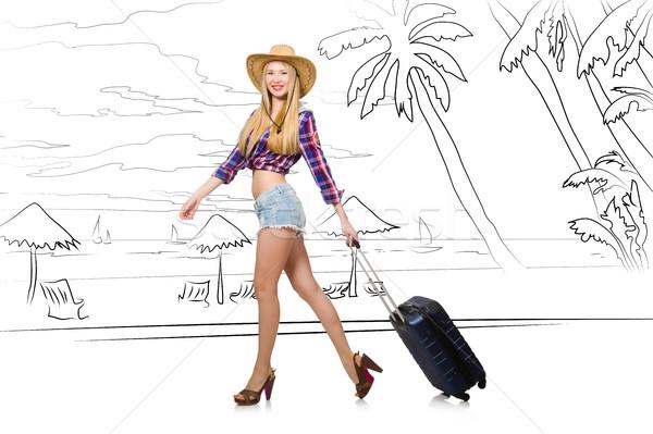 Fiatal nő utazás trópusi sziget utazás tengerpart boldog Stock fotó © Elnur