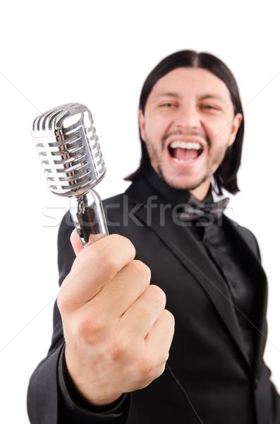 Adam şarkı söyleme karaoke kulüp parti saç Stok fotoğraf © Elnur