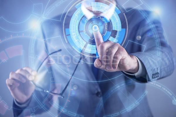бизнесмен виртуальный Кнопки футуристический компьютер Сток-фото © Elnur