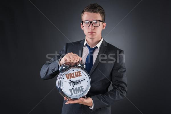 Photo stock: Jeunes · affaires · temps · importance · horloge · exécutif