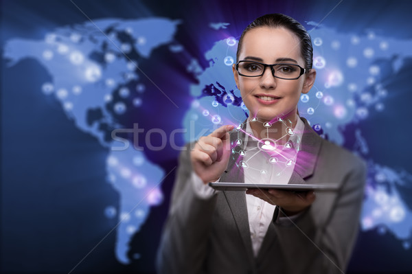Stock photo: The young businesswoman in social networks concept