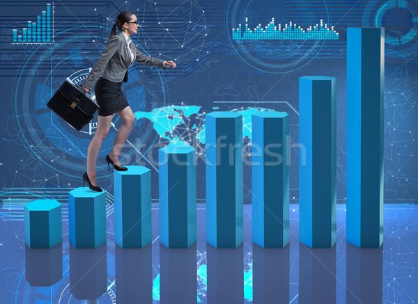 Femme d'affaires escalade carrière échelle courtier Photo stock © Elnur