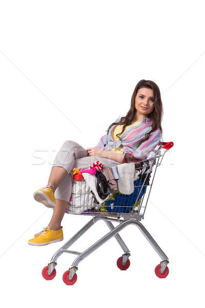 Mujer compra segundo mano ropa blanco Foto stock © Elnur