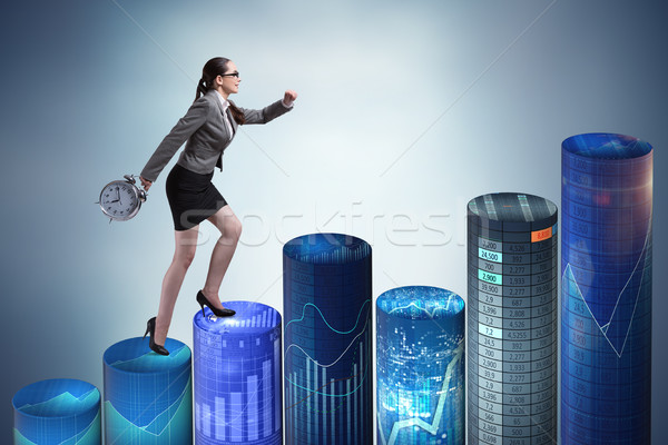 Businesswoman rushing with clock on bar charts Stock photo © Elnur