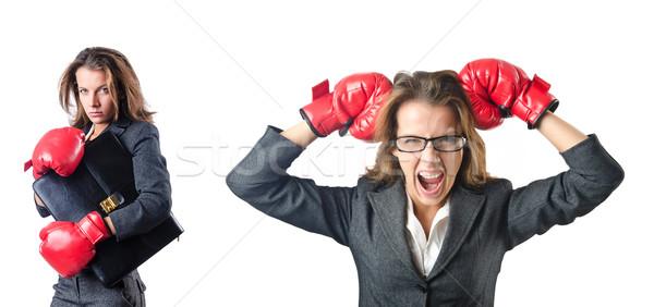 Guantes de boxeo aislado blanco negocios mano Foto stock © Elnur
