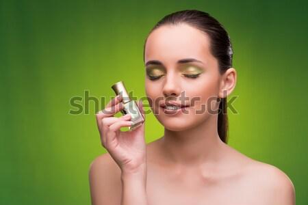 Genç kadın güzellik yeşil yüz vücut sağlık Stok fotoğraf © Elnur
