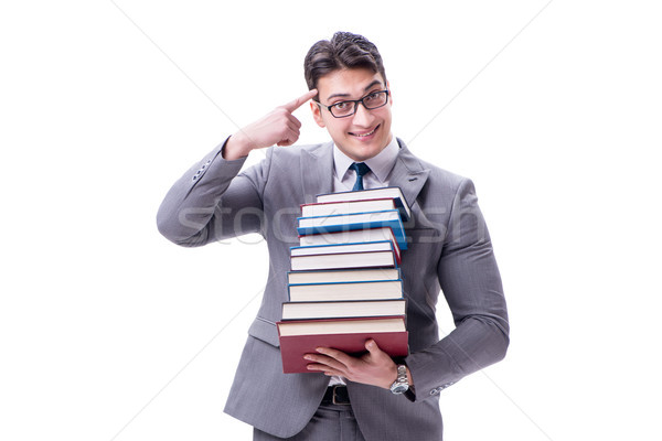 Stock photo: Businessman student carrying holding pile of books isolated on w
