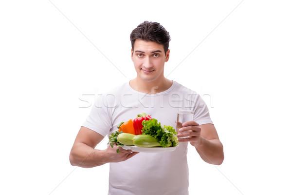 Férfi egészséges étkezés mosoly boldog gyümölcs üveg Stock fotó © Elnur
