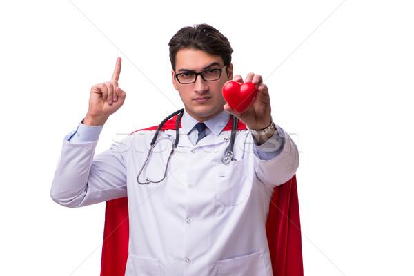 スーパーヒーロー 医師 孤立した 白 男 医療 ストックフォト © Elnur