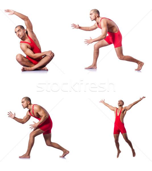 Jonge worstelaar geïsoleerd witte groep strijd Stockfoto © Elnur