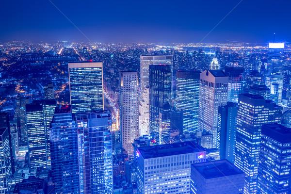 Gece görmek New York Manhattan gün batımı iş Stok fotoğraf © Elnur