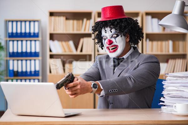 Clown zakenman werken kantoor man laptop Stockfoto © Elnur