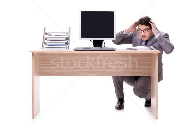 üzletember rejtőzködik iroda izolált fehér férfi Stock fotó © Elnur