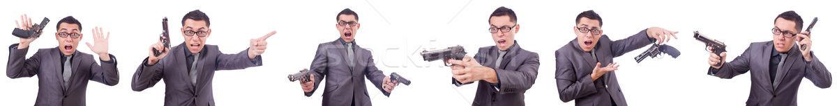 Vicces üzletember fegyver fehér üzlet férfi Stock fotó © Elnur