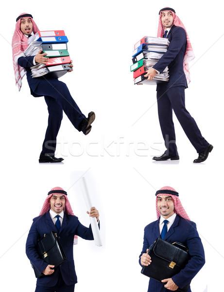 The arab businessman with many folders on white Stock photo © Elnur