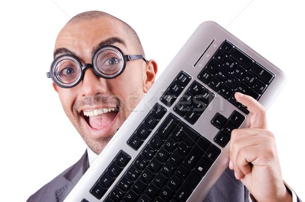 Inek öğrenci işadamı bilgisayar klavye beyaz iş Internet Stok fotoğraf © Elnur