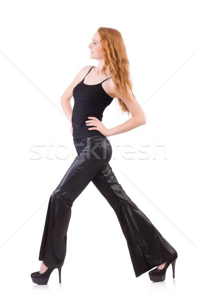 Kobieta czarny dzwon dolny spodnie Zdjęcia stock © Elnur
