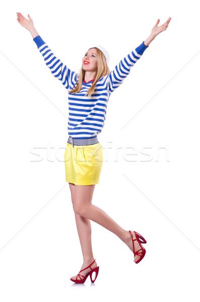 Mulher marinheiro traje isolado branco sorrir Foto stock © Elnur