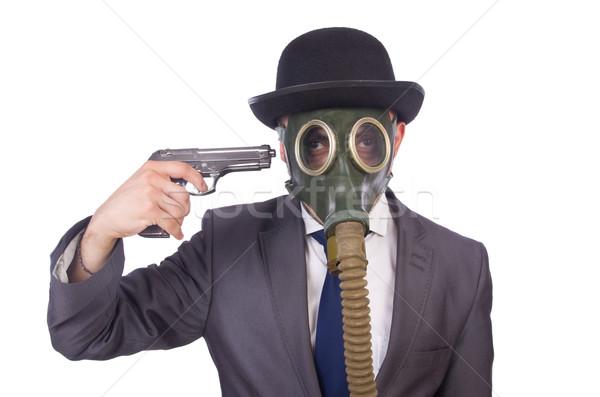 Affaires masque à gaz isolé blanche affaires Photo stock © Elnur