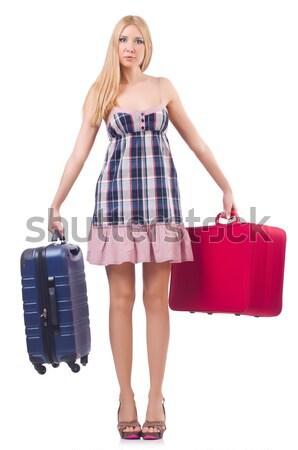 Vrouw reizen koffer witte glimlach mode Stockfoto © Elnur