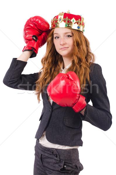 Rainha boxeador empresária isolado branco negócio Foto stock © Elnur