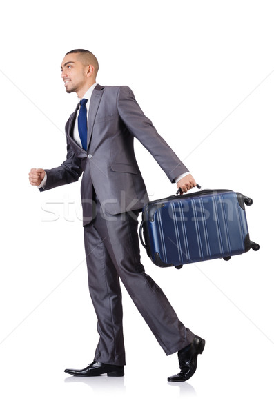 Businessman with luggage on white Stock photo © Elnur