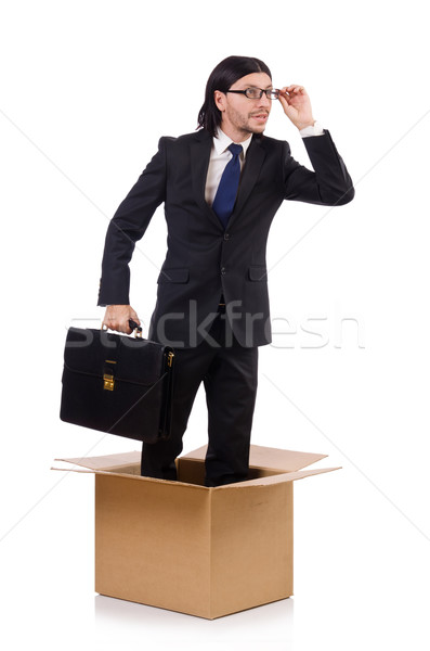 Man in thinking out of the box concept Stock photo © Elnur