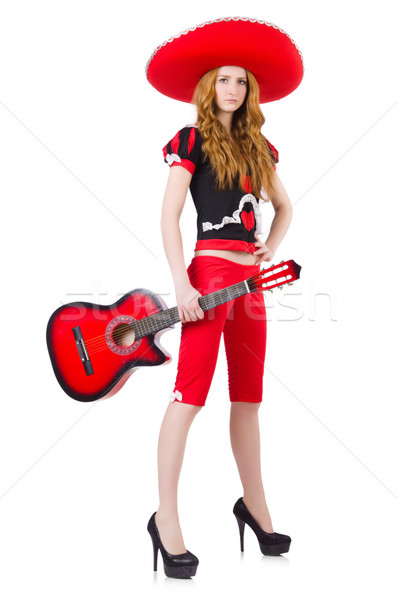 Stock photo: Woman guitar player with sombrero on white