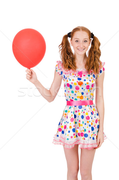 Young woman with red balloon isolated on white Stock photo © Elnur