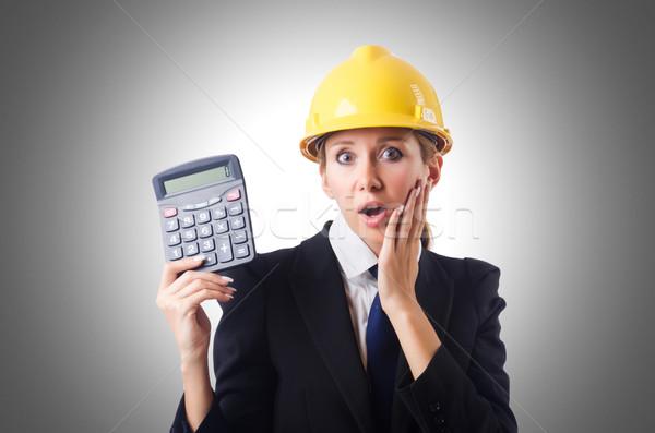Női építőmunkás számológép építkezés munka háttér Stock fotó © Elnur