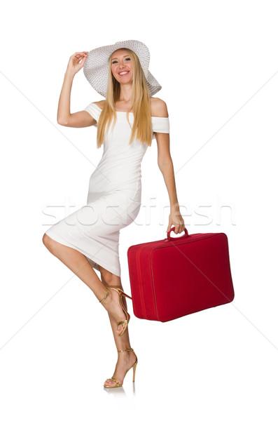 Kobieta czerwony walizkę odizolowany biały dziewczyna Zdjęcia stock © Elnur