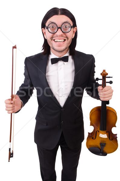 Vicces férfi zene hangszer fehér hegedű Stock fotó © Elnur