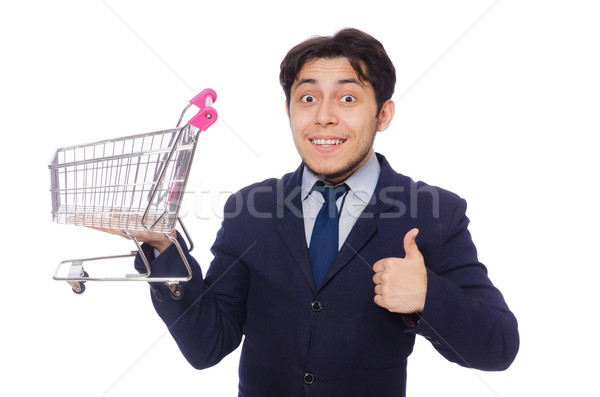 Funny man with shopping cart isolated on white Stock photo © Elnur