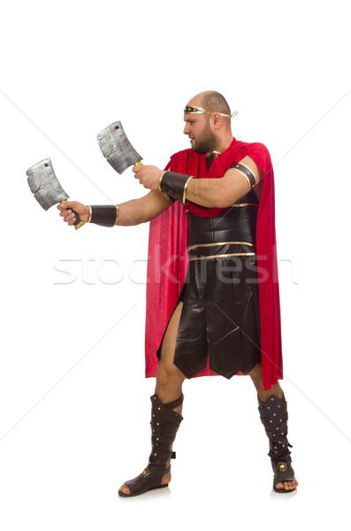 Gladiator odizolowany biały czerwony mięśni nóż Zdjęcia stock © Elnur
