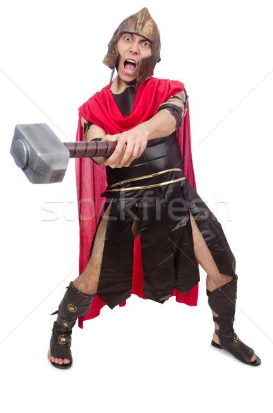 Gladiador isolado branco vermelho engraçado martelo Foto stock © Elnur