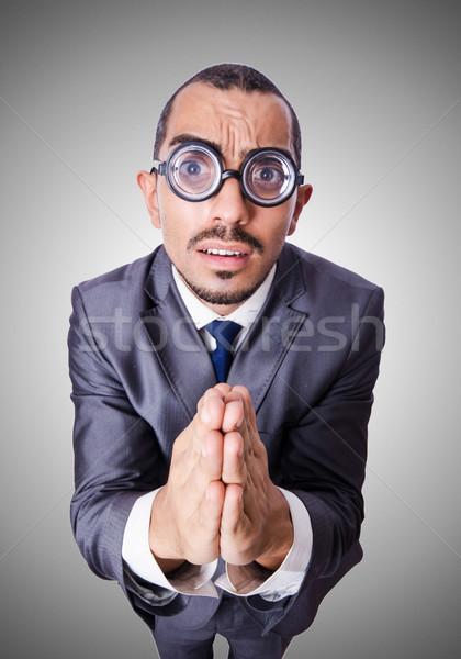 Сток-фото: смешные · NERD · бизнесмен · изолированный · белый · бизнеса